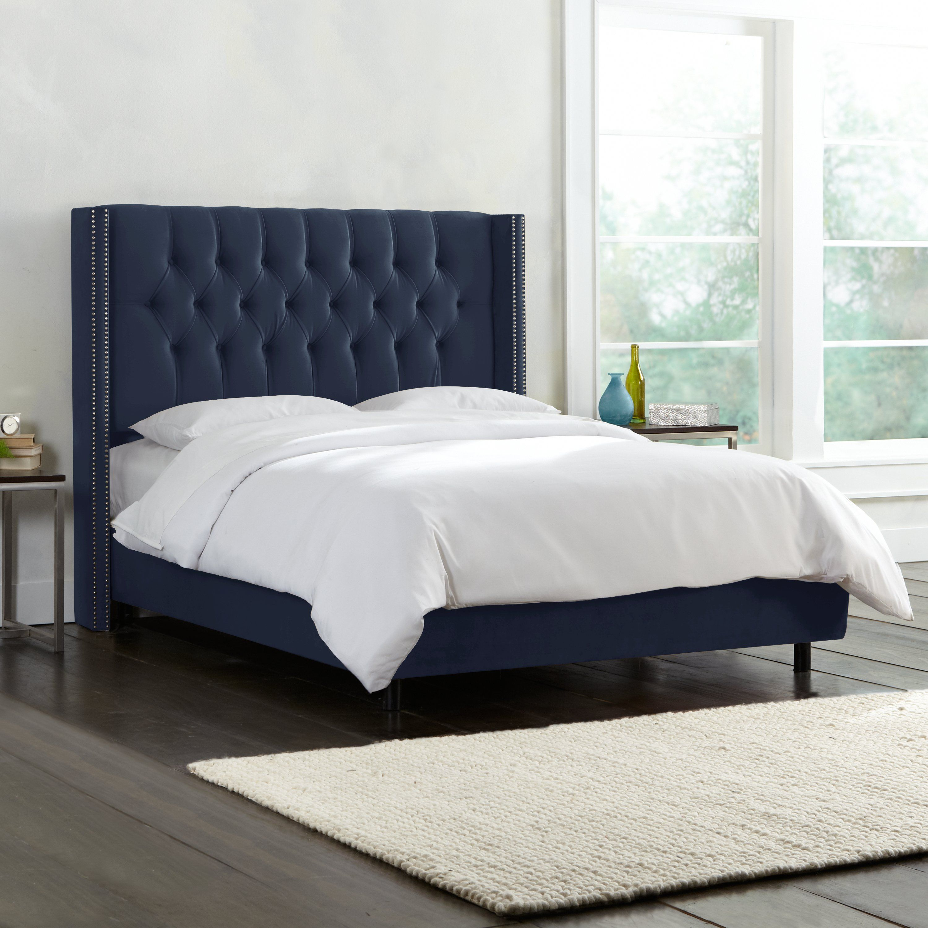 Dark Blue Diamond Tufted Wingback Upholstered Twin Bed In 2020