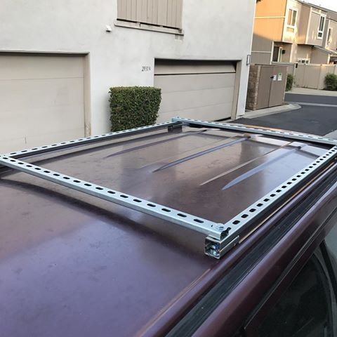 Still Not Finished But Progress Is Progress Gonna Have To Trim Down The Bolts On This Tent Rig To Make It Work Kayak Rack Camper Van Conversion Diy Roof Rack
