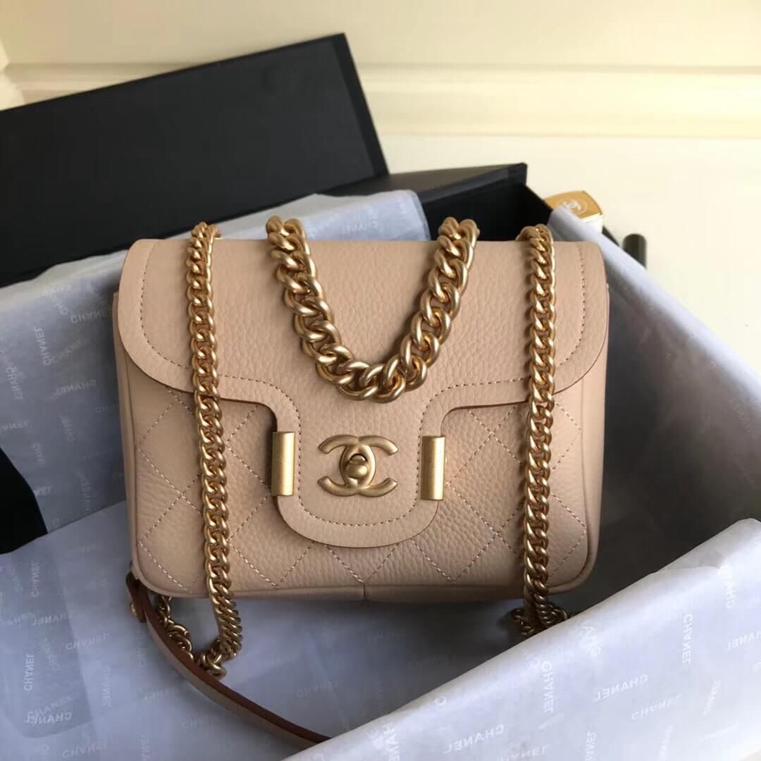 9d62c4f73267 Chanel Grained Calfskin Archi Chic Flap Bag A57217 Beige 2018 (Aged Gold  Hardware)
