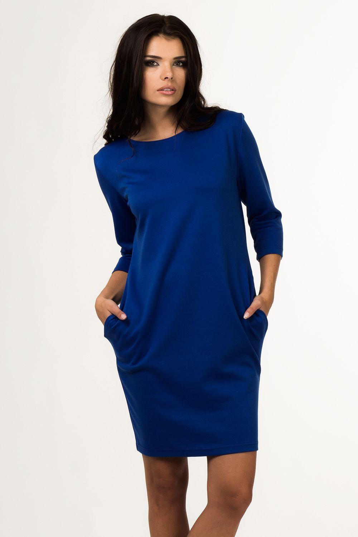 b12f378fb7  Sukienka  dzienna  plus  size  xl  XXL 40-50  dzianina  Duże  rozmiary   online  sklep  internetowy  z  odzieżą  dla  puszystych  niebieska  chabr   sukienki ...
