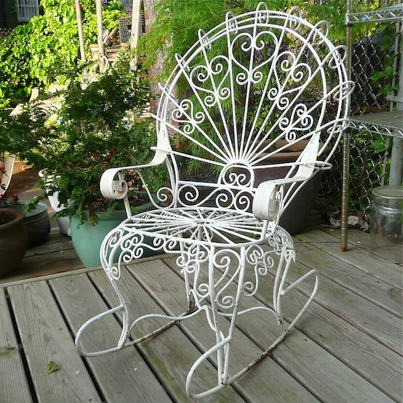 Iron+peacock Chairs | Petite, Wrought Iron Outdoor Rocking Chair With  Peacock Fan Back.