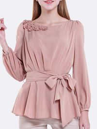 Ruffled Solid Color Blouse with Belt