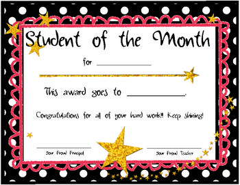 student of the month certificates education pinterest student