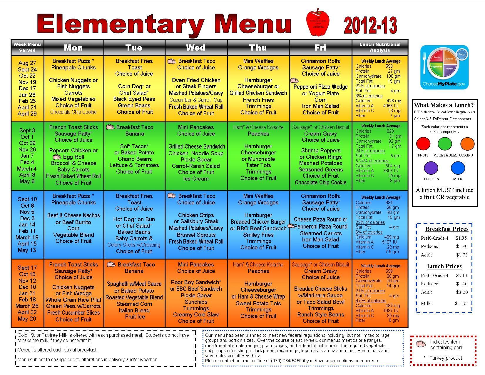 Intermediate school menu 20012002 menu fries in the