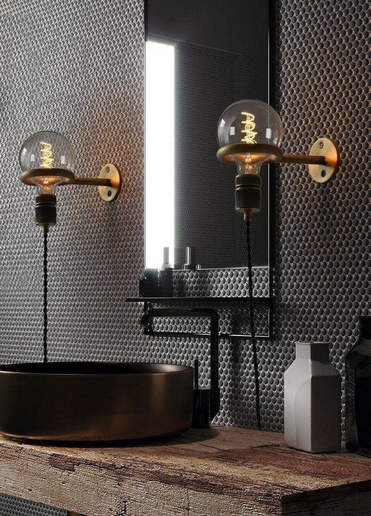 Photo of Industriebad Inspiration mit schwarzem Aufsatzwaschtisch