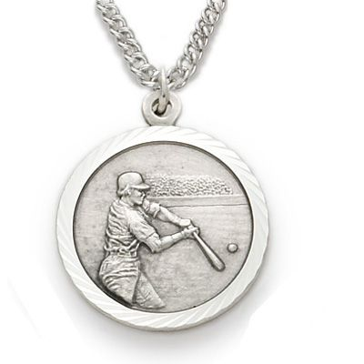 St. Christopher Baseball Sports Medal with Chain - Silver | Catholic ...