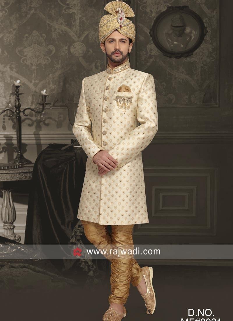 Wedding Wear Cream Color Sherwani Rajwadi Designer Exclusive