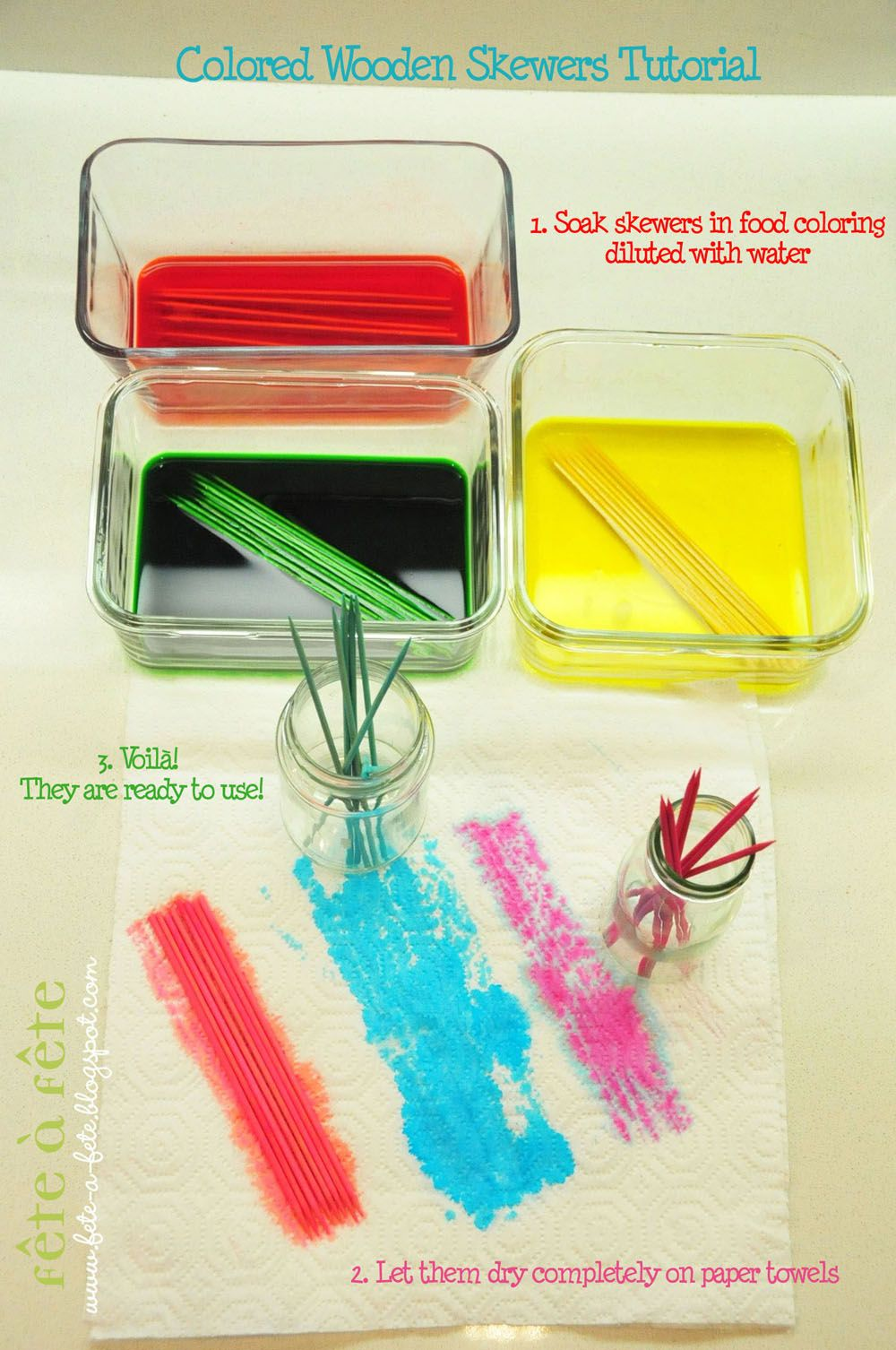 How To Dye Wooden Skewers With Food Coloring Summer Bbq Party