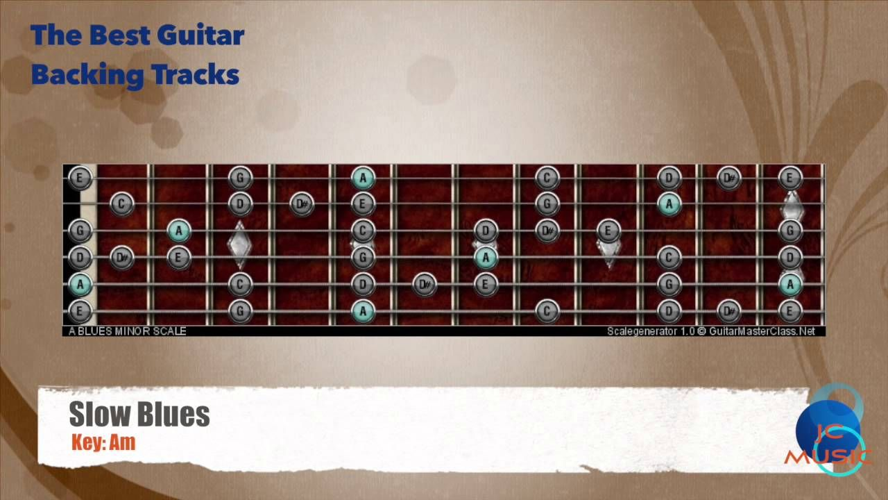 Slow Blues Am Guitar Backing Track with scale map