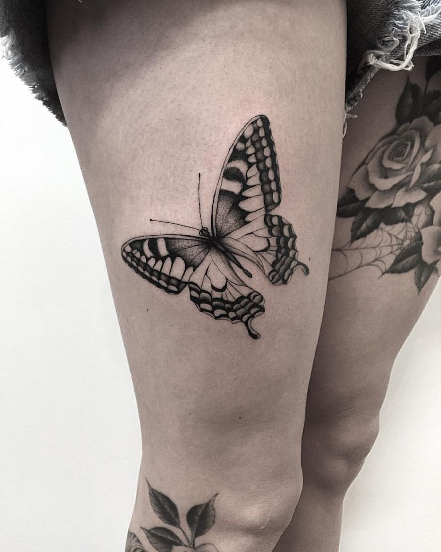 7406573f77b92 Butterfly | Morganatron | Butterfly thigh tattoo, Hibiscus tattoo ...