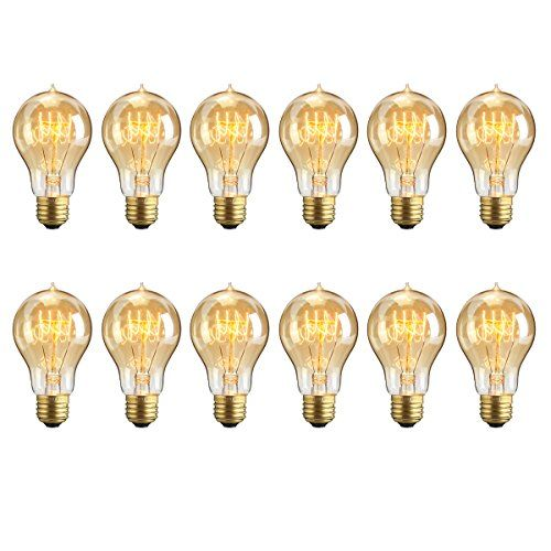 KINGSO 12Packs Vintage Edison Bulbs 60W A19 Squirrel Cage