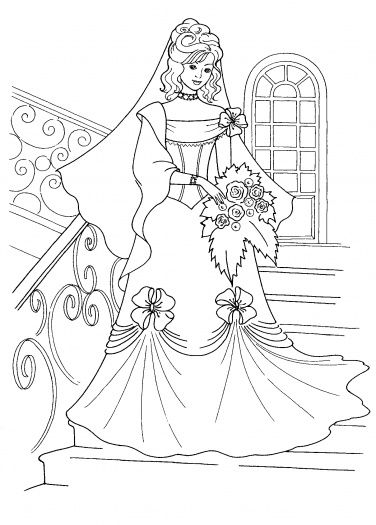 Princess And Her Wedding Dress Coloring Page | Super Coloring