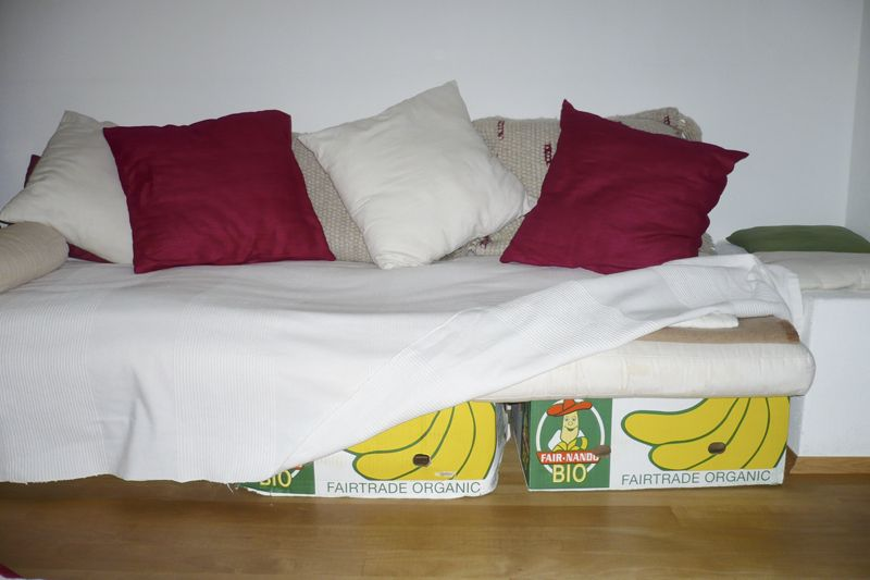 Homemade Couch From Sturdy Banana Boxes Old Childrens Mattress