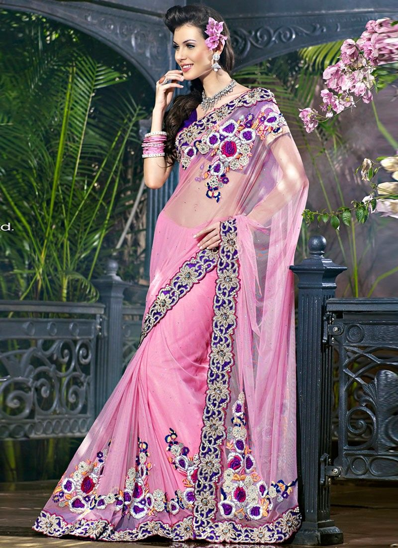Fab Light Pristine Pink Net Saree