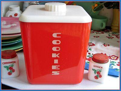 Vintage Lustroware Red Cookie Jar - Rare!