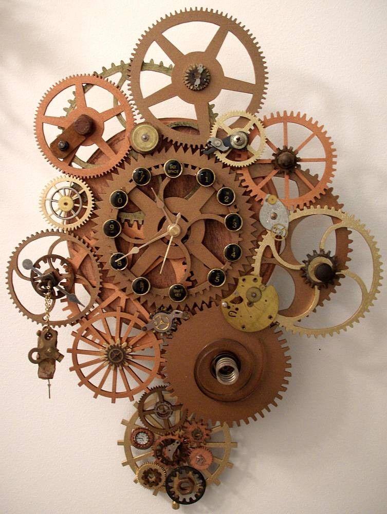 E K Original Steampunk Wall Clock With Pendulum By Ekcreations
