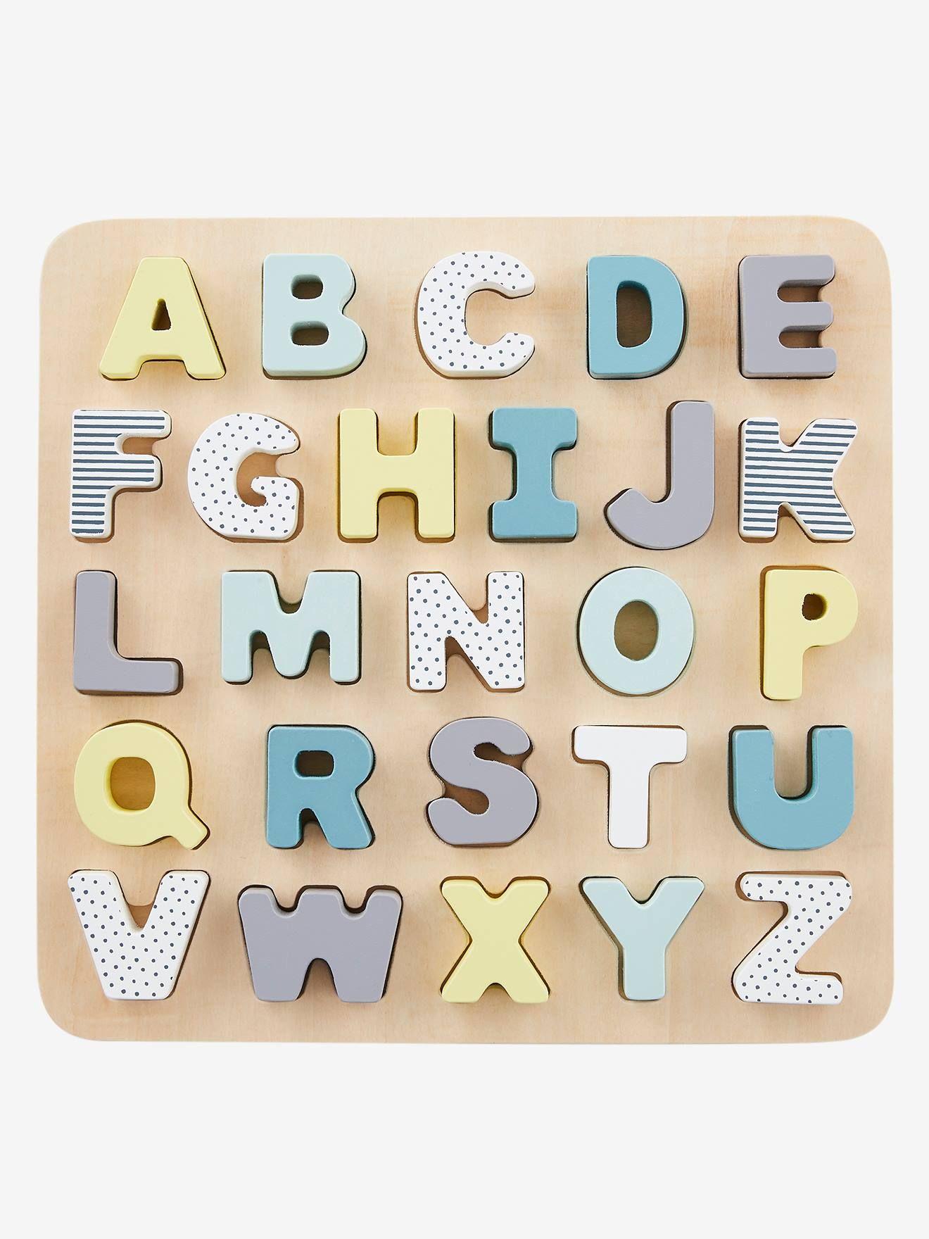 Puzzle Lettres A Encastrer En Bois Multicolore Vertbaudet