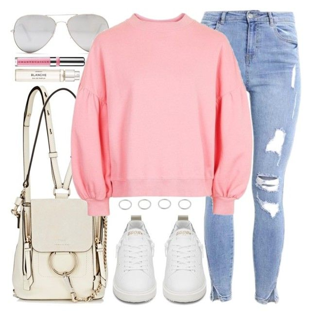Middle Day by monmondefou on Polyvore featuring moda, Topshop, Golden Goose, Chloé, Sunny Rebel, Chantecaille, Byredo and Pink