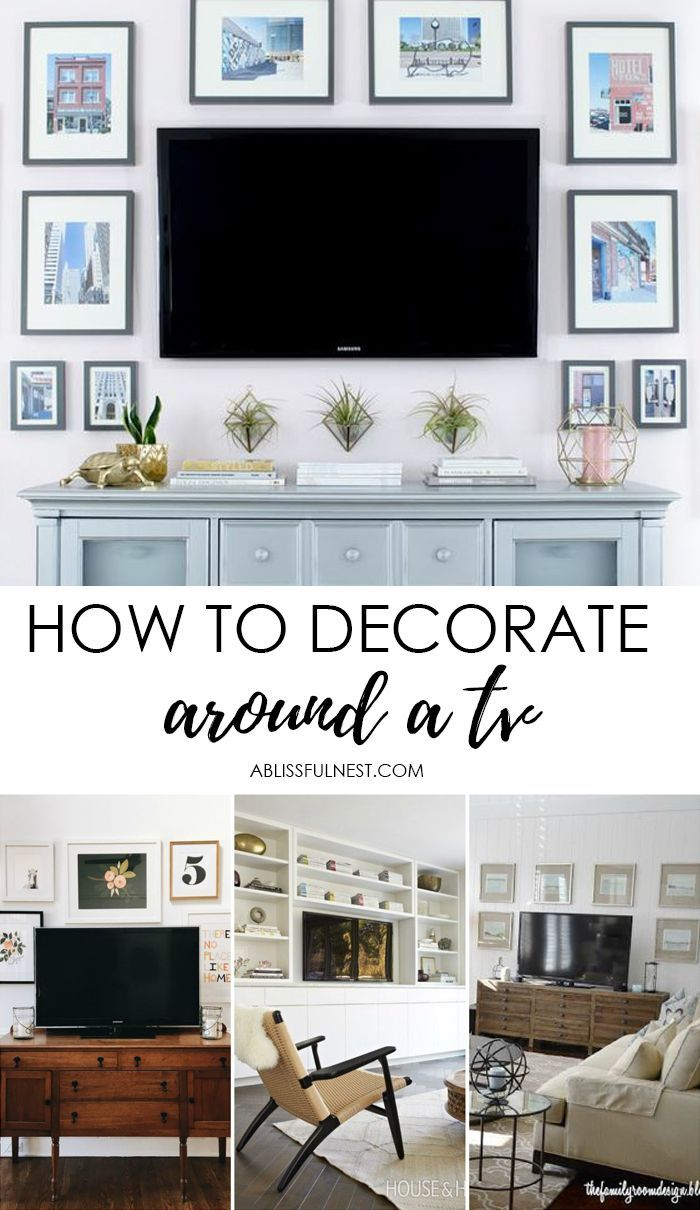 How To Decorate Around The Tv With A Tv Gallery Wall A Blissful Nest Living Room Tv Wall Decor Around Tv Tv Decor