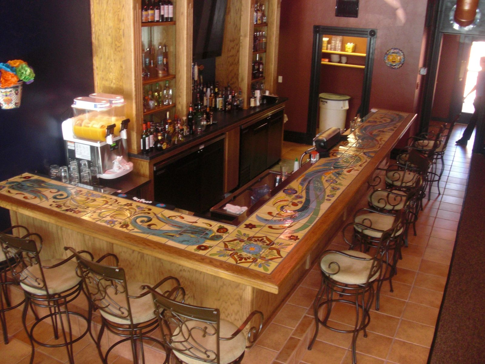 Custom hand glazed tile bartop products i love for Balcony bar restaurant