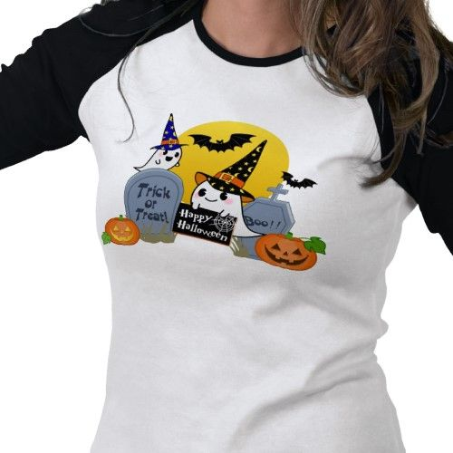"""This basic women's 3/4 sleeve raglan t-shirt, appropriately dubbed the """"trick or treat? shirt"""", is a really great new addition to all wardrobes for quite a few reasons. Tagged under halloween t-shirts, ghosts t shirts, and boo shirts, this product was created by kawaiiclub_apparel and is being matched quite amazingly on our whiteblack standard 3/4 sleeve raglan t shirt that will go amazingly with lots of outfits. Zazzle has a huge selection of truly fantastic t-shirts like this one created…"""