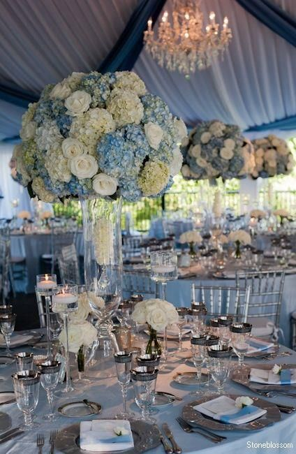 Blue Cream And Hints Of Silver To Glam Up The Theme Hydrangeas Wedding Blue Wedding Flowers Dusty Blue Weddings