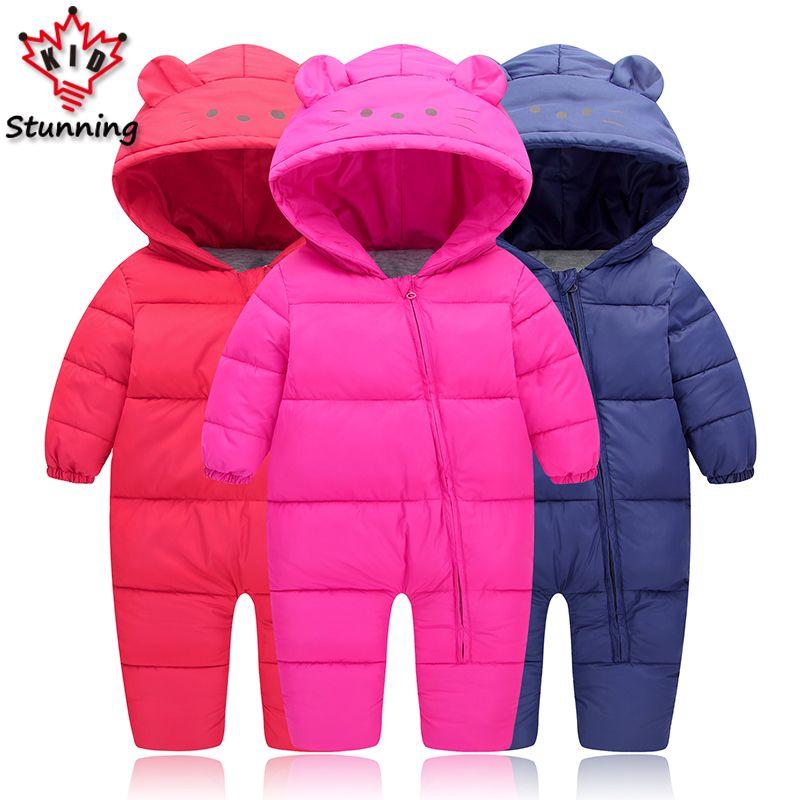 b6d1e37da3dc Baby Boys Girls Snow Wear Rompers Casual Coats