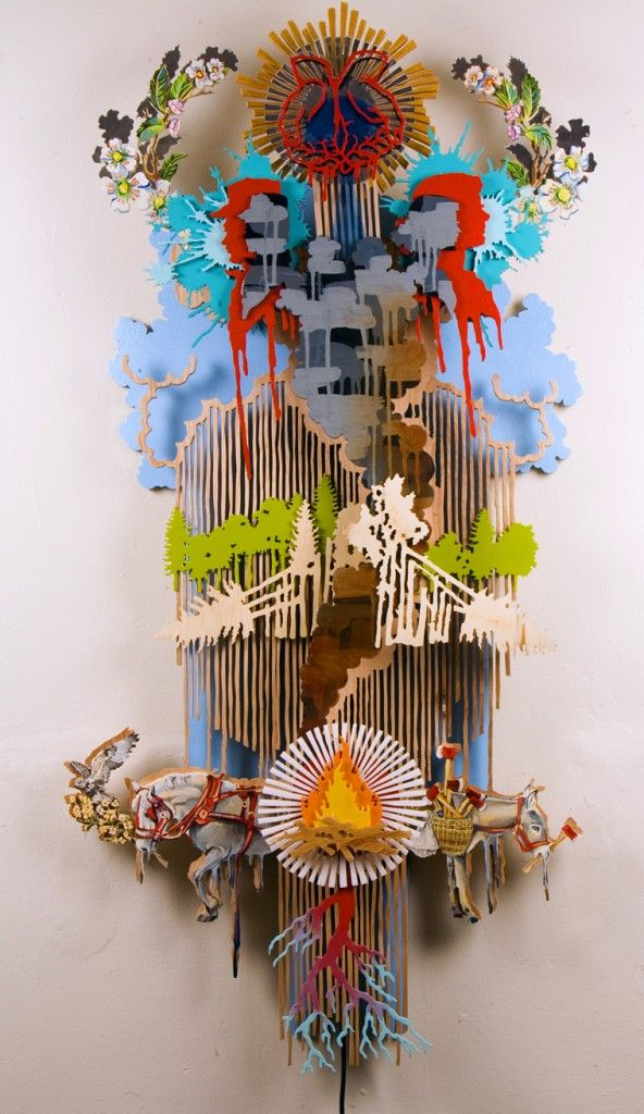 Mixed media sculpture with rotating motor http://hilarywhiteart.com/work/series/