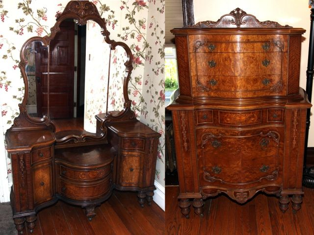 1950 Bedroom Vanity Antique Furniture Vintage Set | ANTIQUES ...