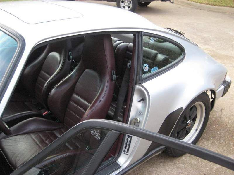 porsche 911 carrera 1987 silver with oxblood interior