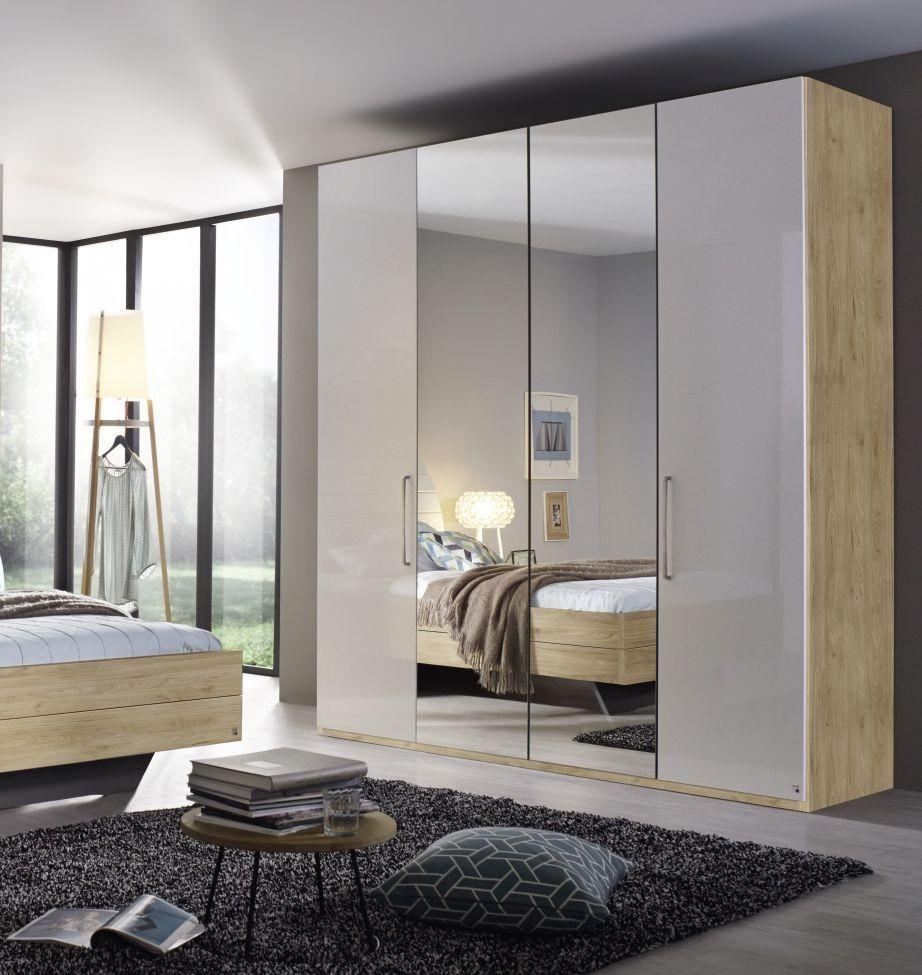 Rauch Balis 4 Door Folding Wardrobe In Oak And High Gloss White W 201cm Wardrobe Design Bedroom Corner Wardrobe Bedroom Cupboard Designs