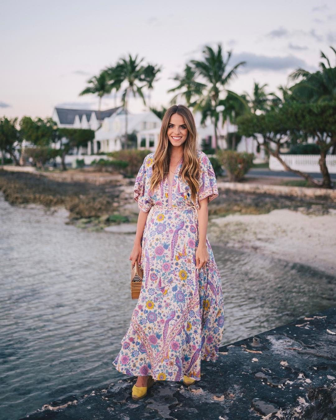 Sunset Breeze On The Island Link In Profile To This Look Harbourisland Bahamas Summer Dress Outfits Casual Women Dresses Casual Summer Floral Dress Casual [ 1349 x 1080 Pixel ]