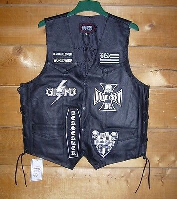 Doublequicktime Black Label Society Bls Leather Vest With Official Patches As Worn By Zakk Wylde For Usd375 Leather Vest Black Label Society The Black Label