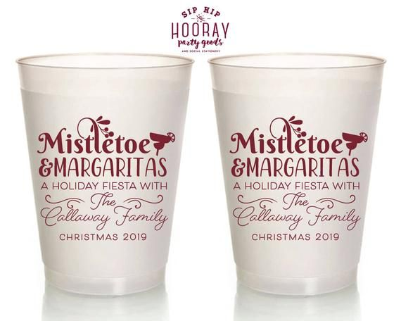 Christmas Party Frosted Cups, Custom Shatterproof Cups, Mistletoe Margaritas, Personalized 16oz Cups, Reusable Party Favor, Xmas 2103