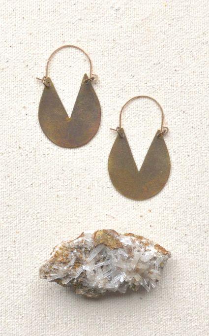 Shape One Earrings Handcut Geometric Brass