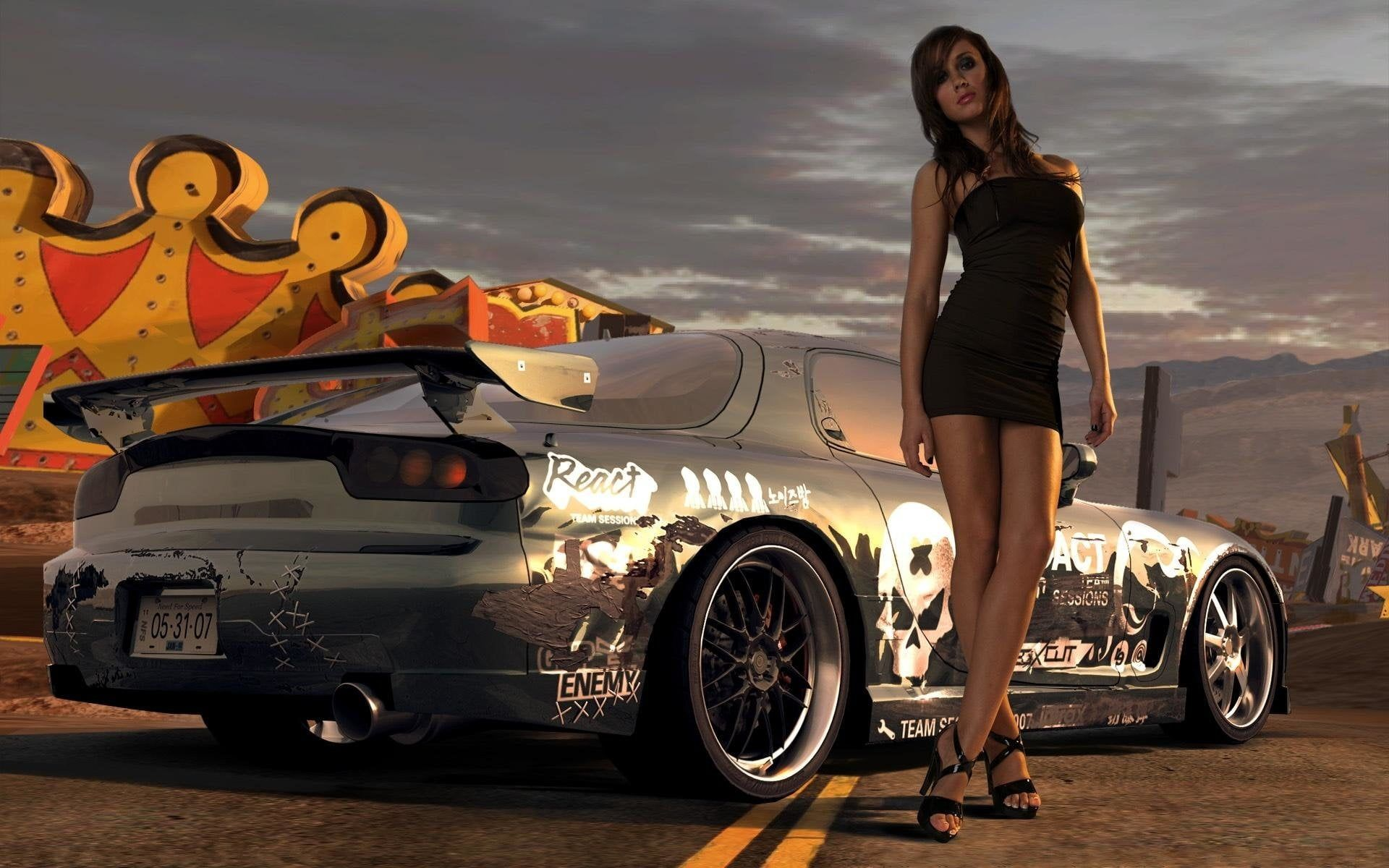 Gray Mazda Rx 7 Women Girls Amp Cars 1080p Wallpaper Hdwallpaper Desktop In 2020 Street Racing Cars Car Wallpapers Hot Cars