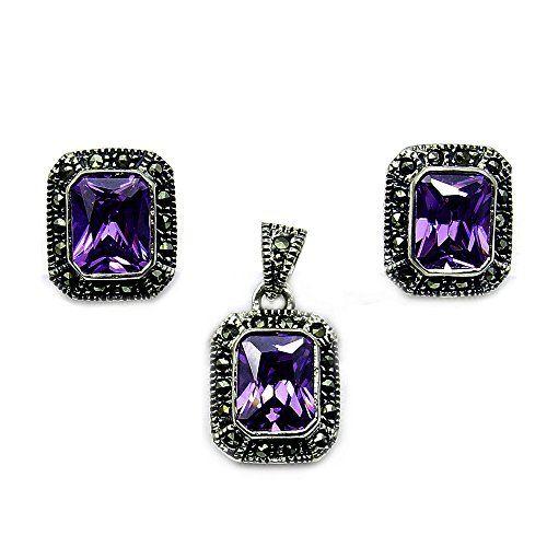 Sparkling Sterling Silver Purple Cz Marcasite Stud Earrings Pendant Set For More Information Visit Image Link