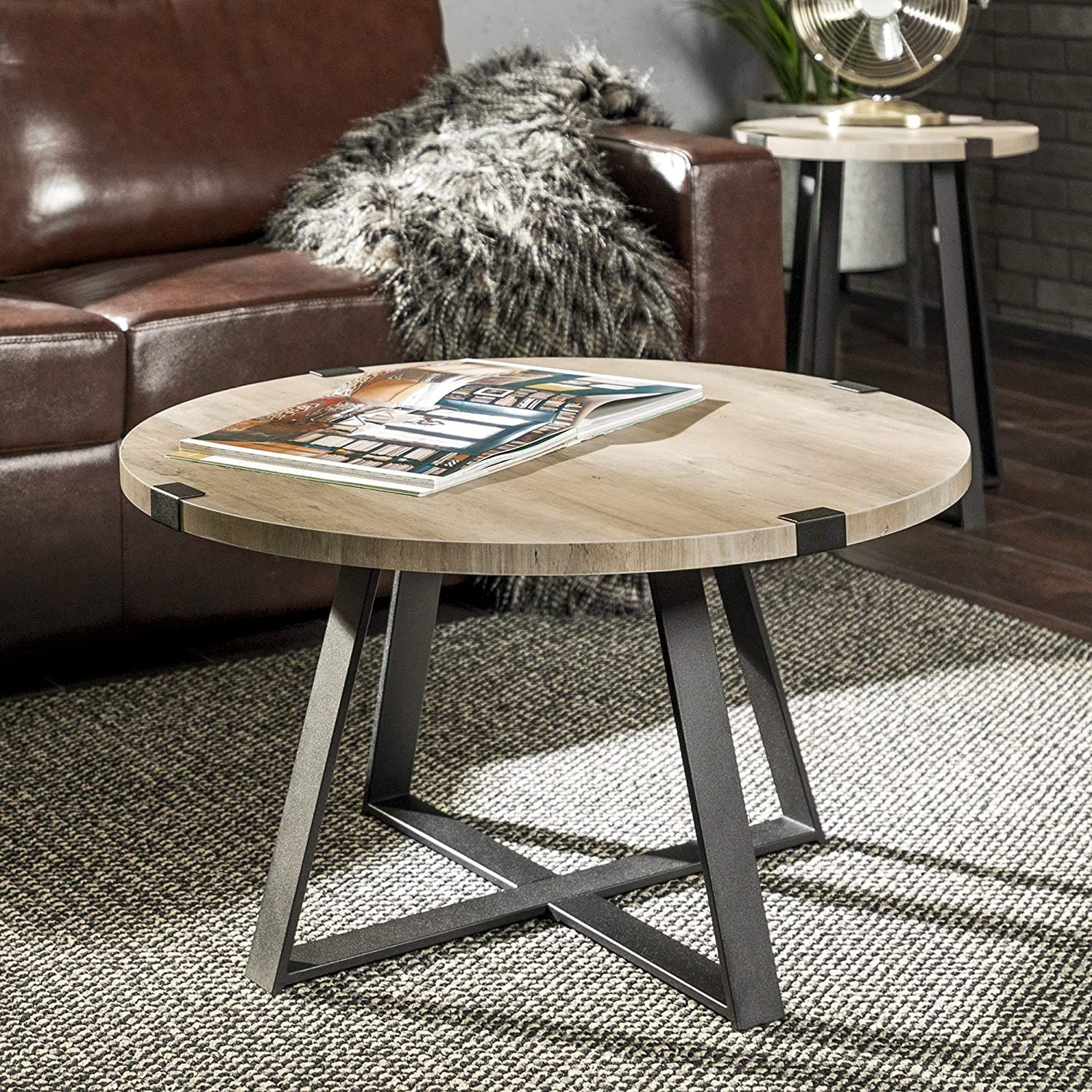 We Furniture Rustic Farmhouse Round Metal Coffee Accent Table Living Room 30 Inch Grey B Farmhouse Style Coffee Table Living Room Accent Tables Living Table