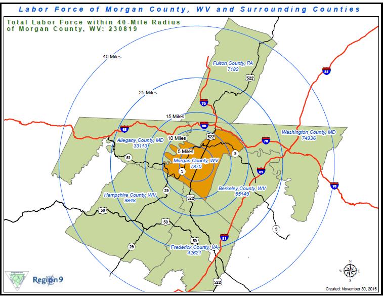 Morgan County West Virginia Map Of Workforce Area Morgan County