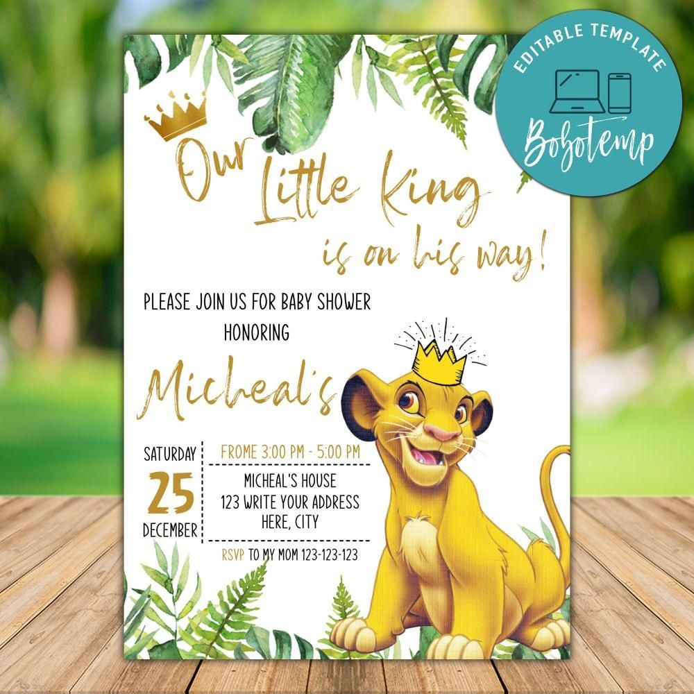 Printable Simba Lion King Baby Shower Party Invites Diy Bobotemp Lion King Party Lion King Baby Shower Invites Lion King Birthday Party Ideas
