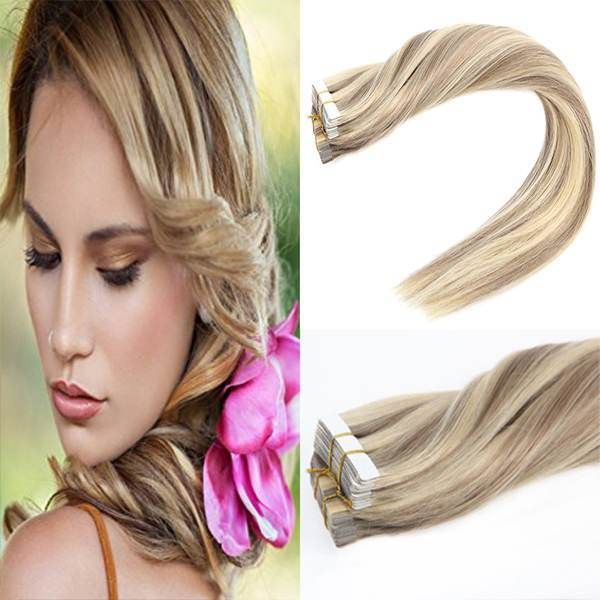 Tape In Blonde Highlighted Human Hair Extension 1622 Pinterest