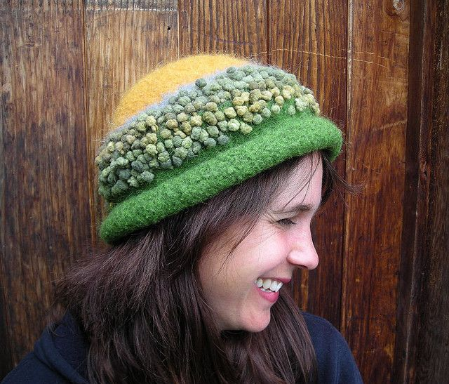 Handknit Felted Green and Yellow Hat with Narrow Brim and Bobble Novelty Yarn