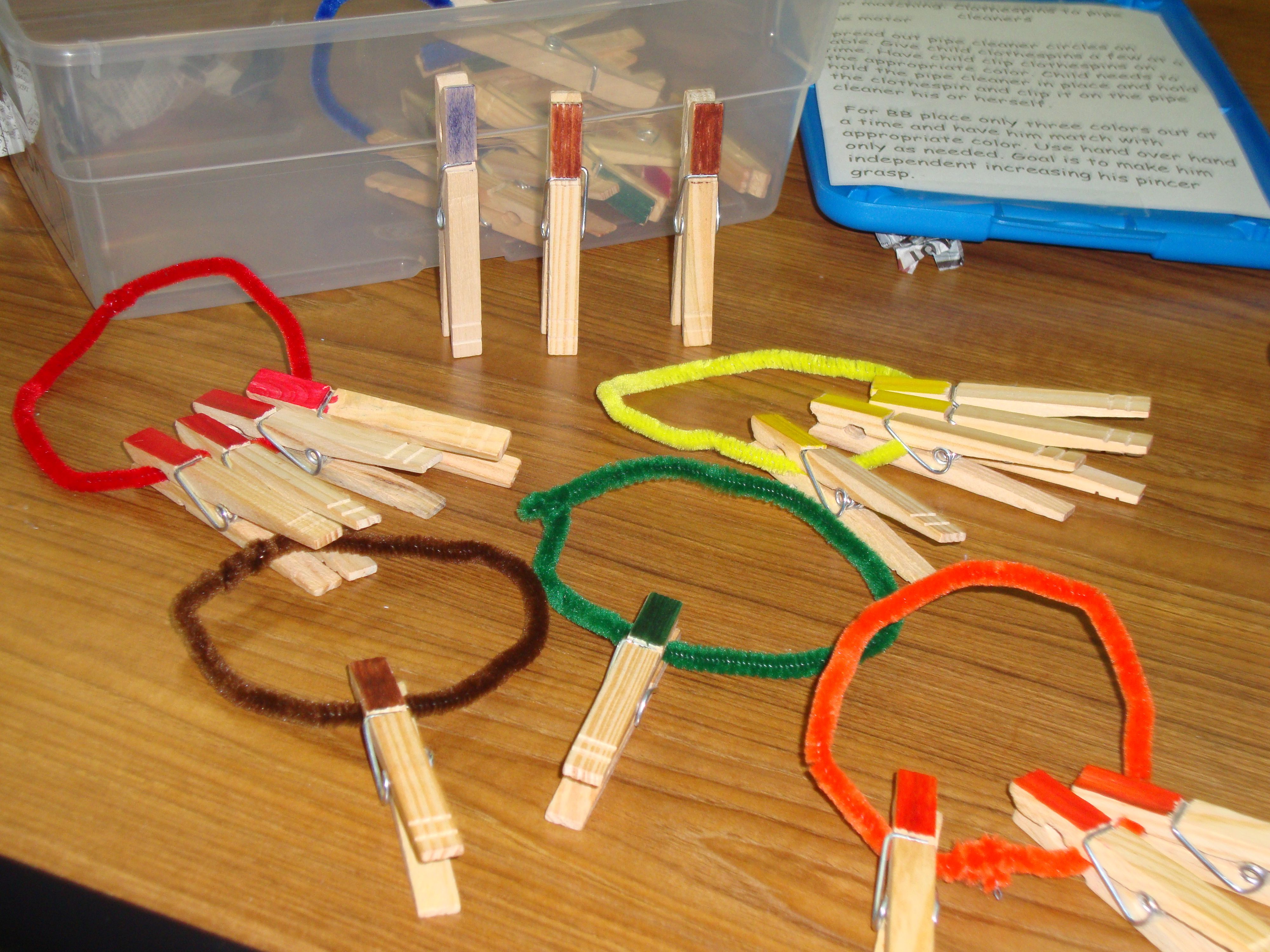 Color Matching: Clothespins to Pipe Cleaners: There are four clothespins to match with each pipe cleaner. The clothespins have been colored to coordinate with the color of the pipe cleaner. A variation could be to write the color word on the clothespin rather than coloring it. It would increase the difficulty.