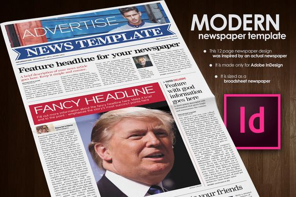 modern newspaper template by ted fuller on creativemarket