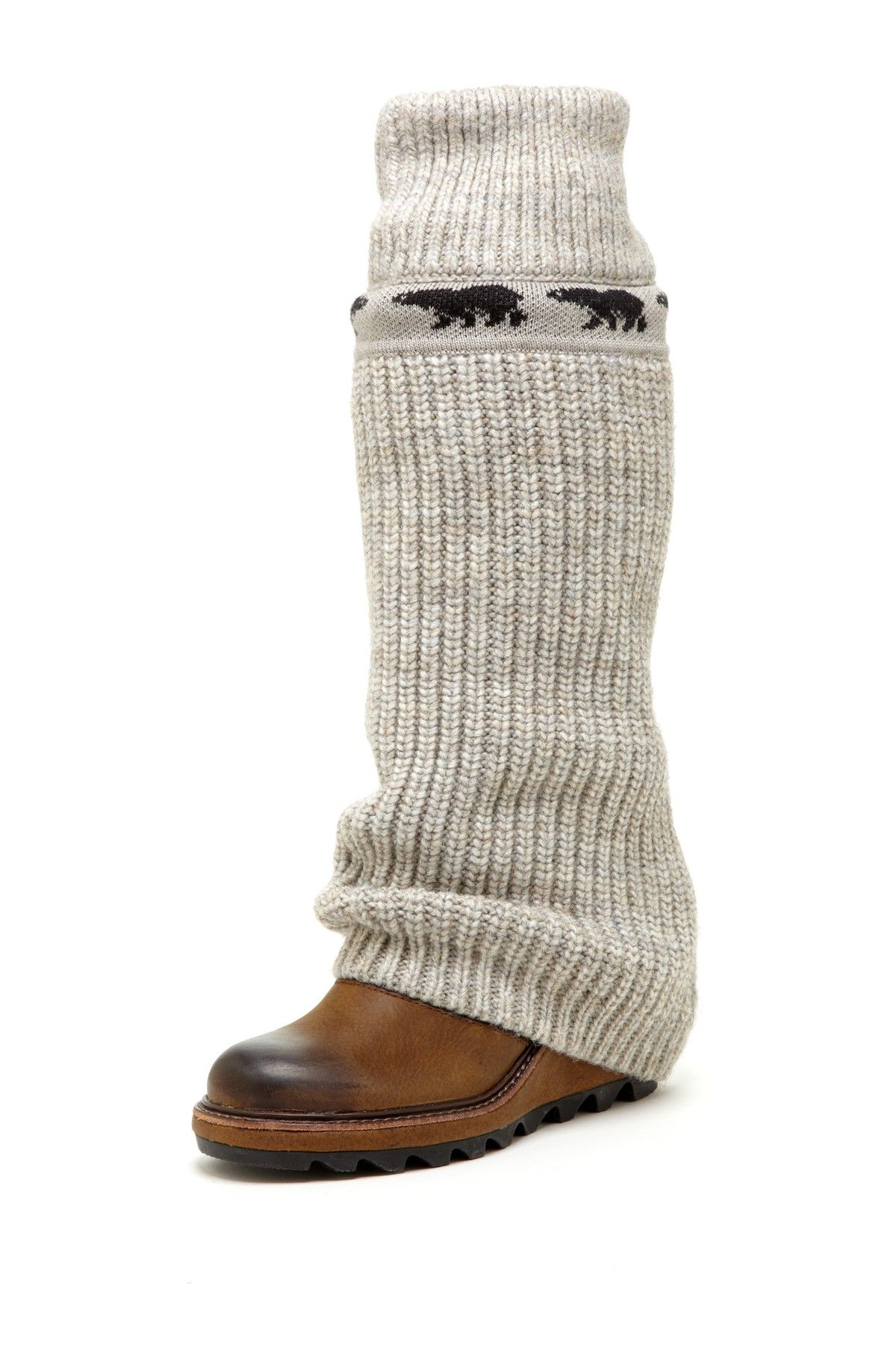 7611468d717 Crazy Cable Wedge Boot in brown by Sorel  320 -  185  HauteLook.  Leather knit upper