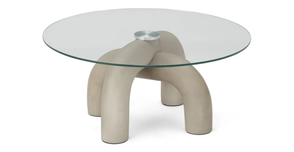 Babette Table Basse Beton Et Verre Made Com En 2020 Table Basse En Pierre Table Basse Table Basse Beton