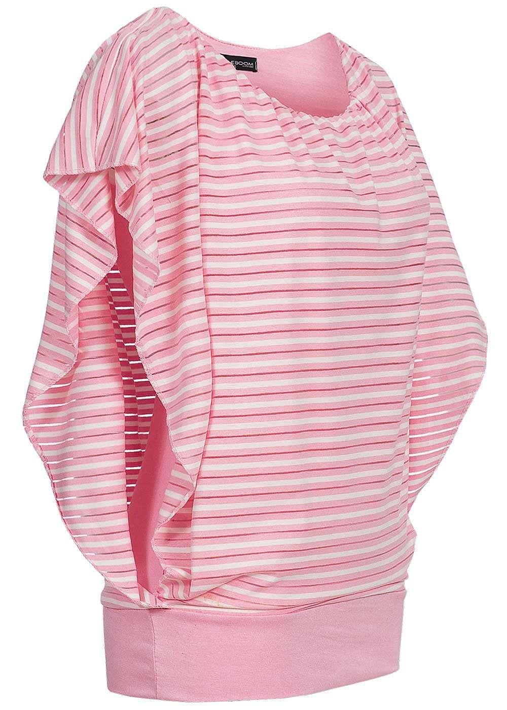 Styleboom Fashion Damen 2in1 Shirt U-Boot Ausschnitt gestreift rosa - 77onlineshop