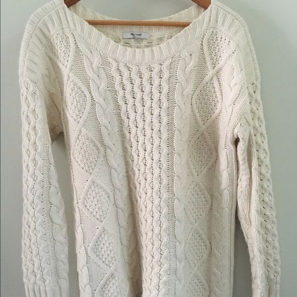 Madewell cable knit boat neck sweater | Boat neck, Cable knitting ...