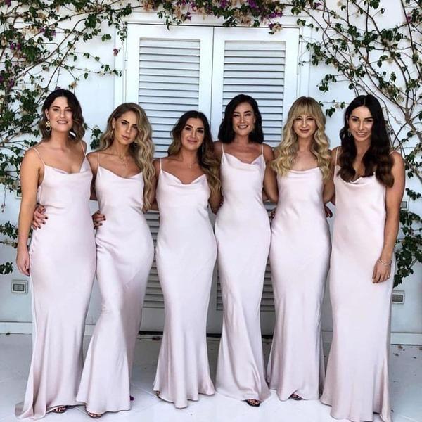 Floor Length Mermaid Spaghetti Straps Simple Cheap Bridesmaid Dresses Bd0031 Light Pink Bridesmaid Dresses Cheap Bridesmaid Dresses Uk Satin Bridesmaid Dresses