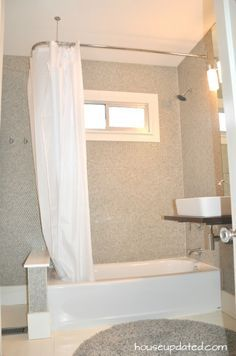 l-rod in the shower | shower curtain rods, bathrooms